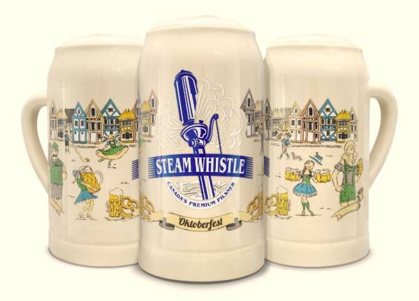 Widespread promo: Steam Whistle's pilsner, and collectible stein, is readily available in bars and restaurants.